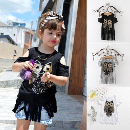 White Owl Girl (Fashion Sequins Owl Printed Tops Baby Girl Tassel T-shirt Cotton Clothes)