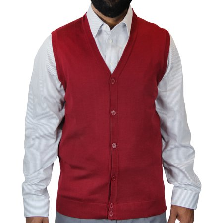 Big Tall Sweater Vests - Big and Tall Solid Color Cardigan Sweater Vest