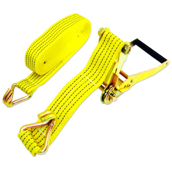 "2"" X 27 Foot Ratchet Tie Down ""J"" Hook -S- Cargo Towing Tow Strap Ratcheting"