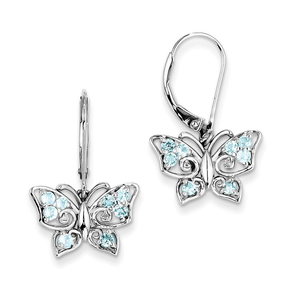 Sterling Silver Light Blue Topaz Diamond Earrings (0.4IN x 0.6IN )