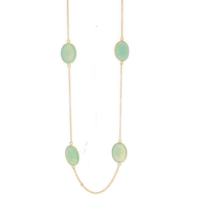 Yellow Silver Aqua Chalcedony By The Yard Necklace (32.0.cts.tw) by PGCF3206
