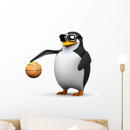 Penguin Wall Decals (3D Basketball Penguin Wall Decal by Wallmonkeys Peel and Stick Graphic (18 in H x 18 in W) WM349780 )