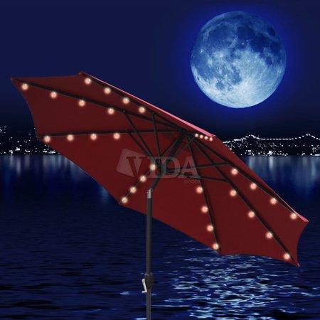 Vidagoods 10' ft LED Solar Powered lights Aluminum  Outdoor Table Patio Market Yard Beach Umbrella (5 Colors)