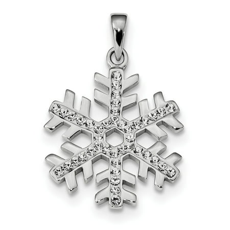 Rhodium Snowflake Pendant - 925 Sterling Silver Rhodium Plated Stellux Crystal Snowflake (23x28mm) Pendant / Charm