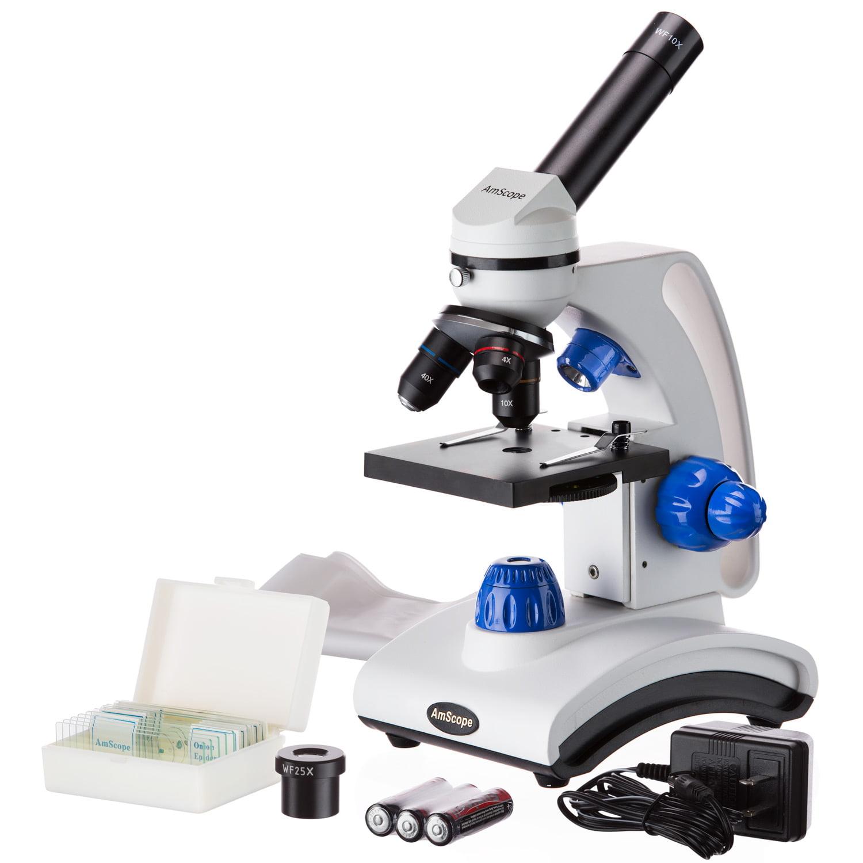 AmScope 40X-1000X Dual Light Glass Lens Metal Frame Student Microscope + Slide Kit New