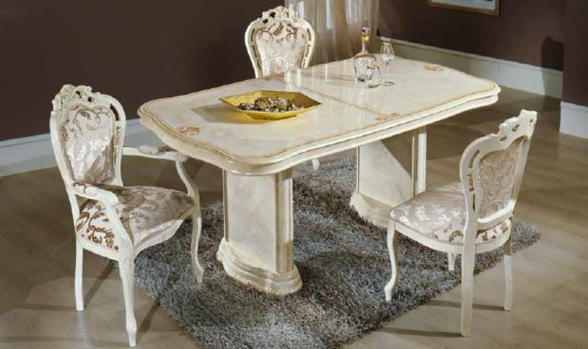 1PerfectChoice Italian Beige Dining Set With Table Armchairs Chairs Buffet  Mirror (No China Cabinet)   Walmart.com