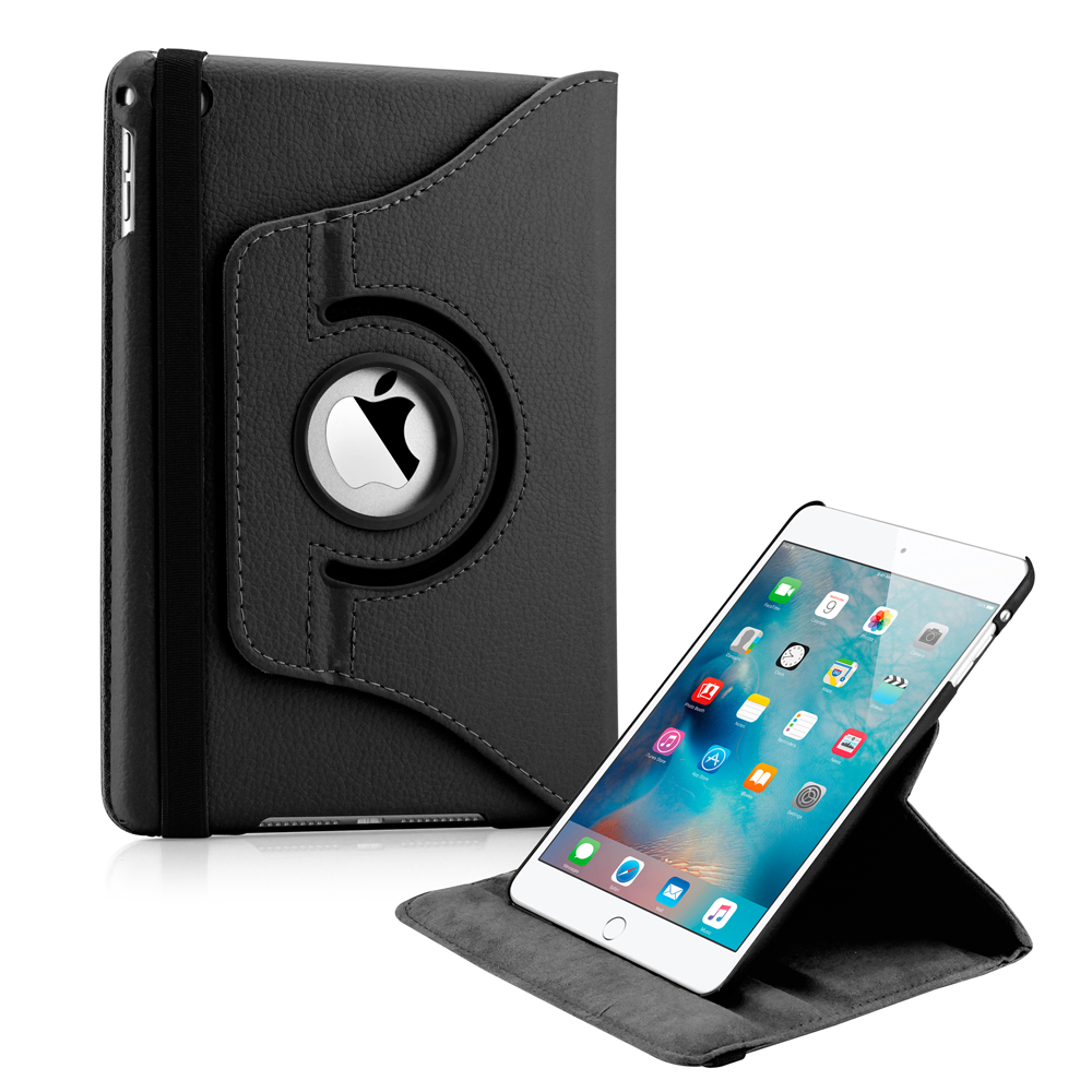 361 Degree Rotating PU Leather Cover Smart Case Swivel Stand for Apple iPad Mini 4 - Black