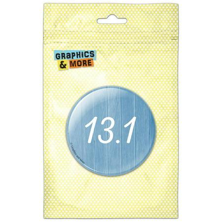 13.1 Half Marathon Runner Fitness Wood Planks Blue Pinback Button Pin Badge