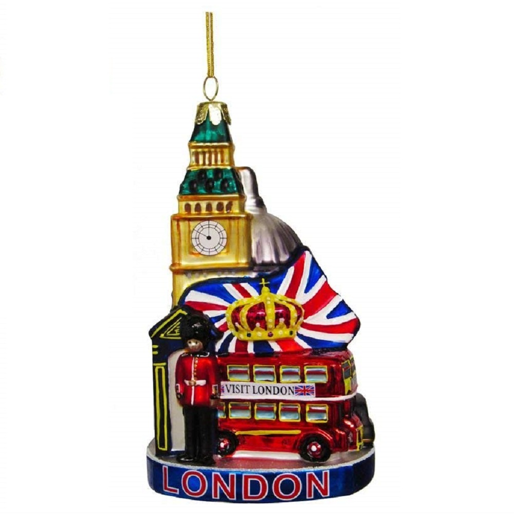 London England Cityscape Glass Christmas Tree Ornament ...