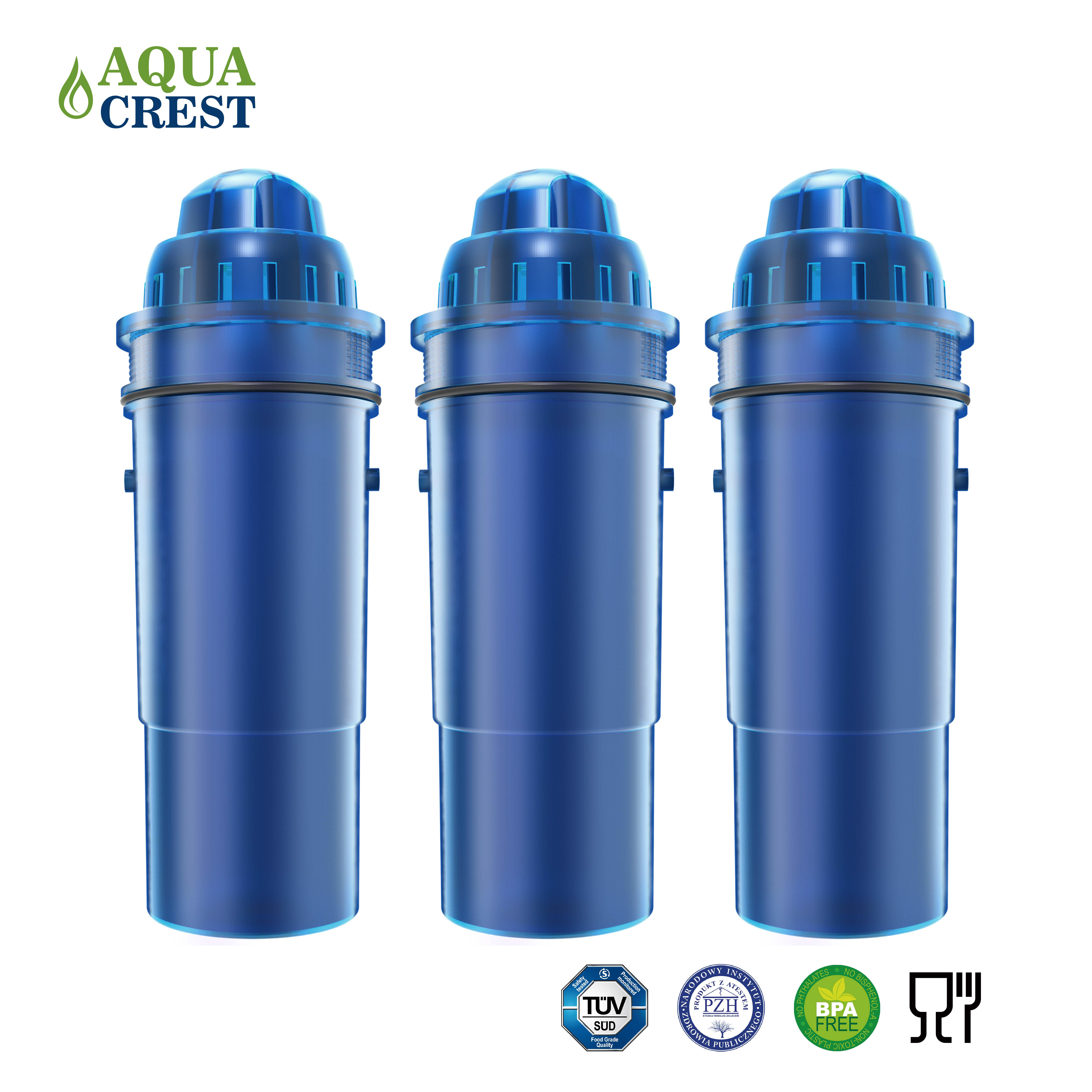 3 Pack AQUACREST Filter Refills for Pur CRF-950Z Pitcher Water Filter by Ecolife Technologies