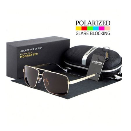 Classic Aviator Retro Mens Fashion Metal Vintage Designer Polarized (Black Sunglasses Gold Frame)