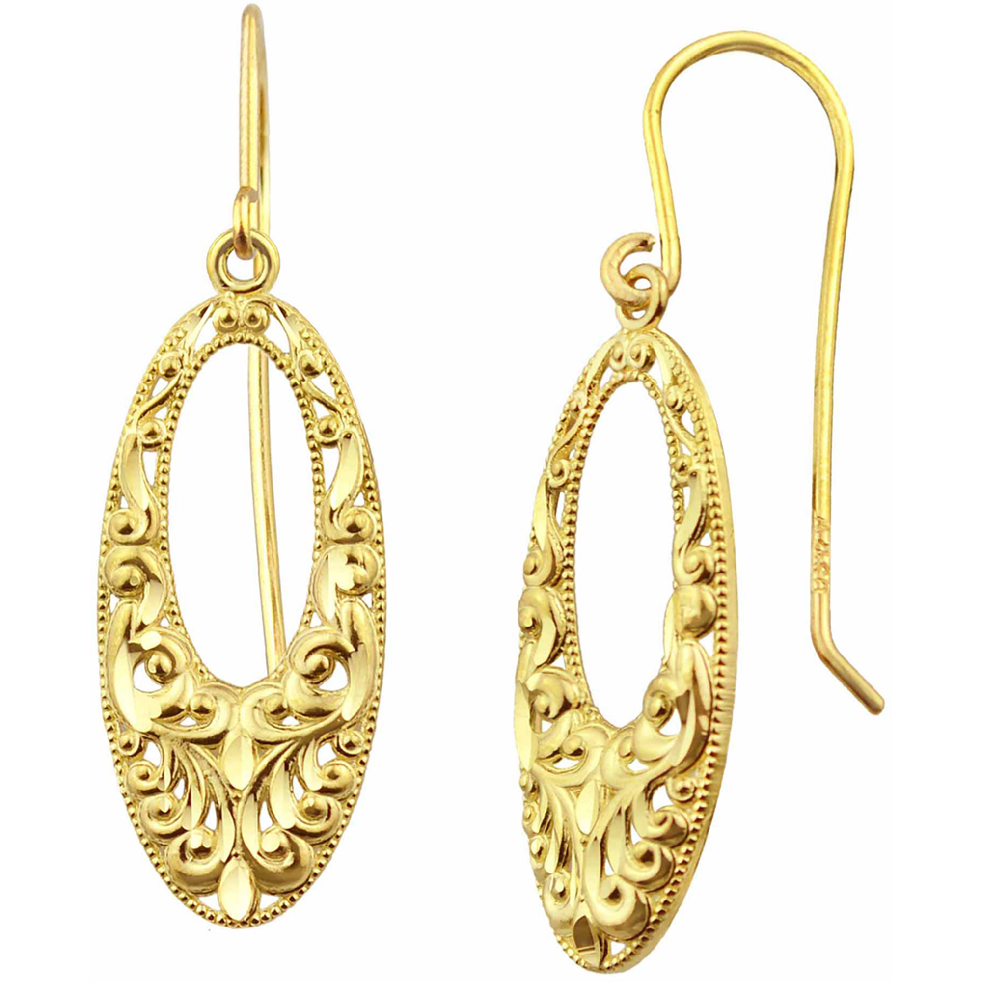 US GOLD 10kt Gold Vintage Lace Oval Drop Earrings
