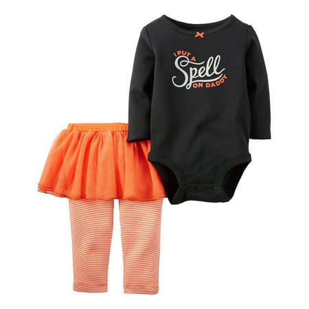Carters Baby Clothing Outfit Girls 2-Piece Halloween Bodysuit & Tutu Pant Set Black