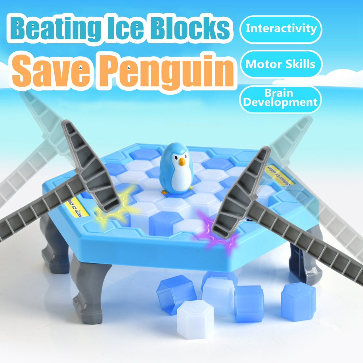 Family Game Board Ice Breaking Save The Penguin Great Family Puzzle Table Games, M/L Size