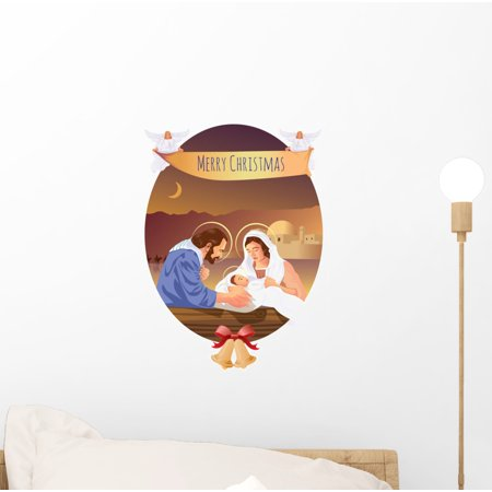 Christmas Christian Nativity Scene Wall Decal Wallmonkeys Peel and Stick Holiday Graphics (12 in H x 8 in W) WM503023 - Christmas Wall Scenes
