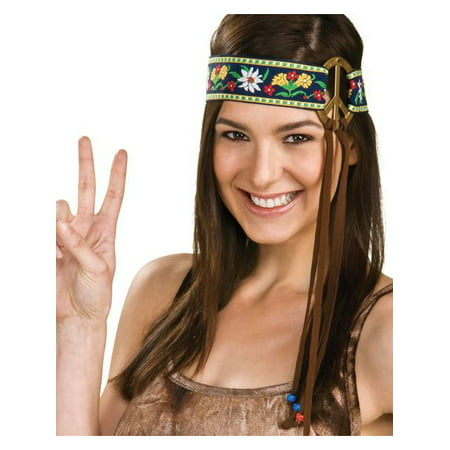 Embroidered Peace Sign Hippie Headband (Halloween Abc)