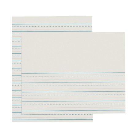 School Smart Red & Blue Newsprint Paper, 1/2 Inch Ruled, 8-1/2 x 11 Inches, 500