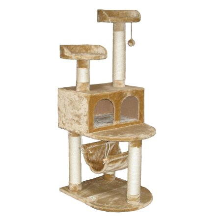 Go Pet Club 54 in. Beige Double Condo Jungle Cat Tree  - - Jungle Cat Tree
