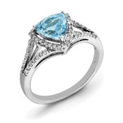 Primal Silver Sterling Silver Rhodium Blue Topaz and Diamond Ring