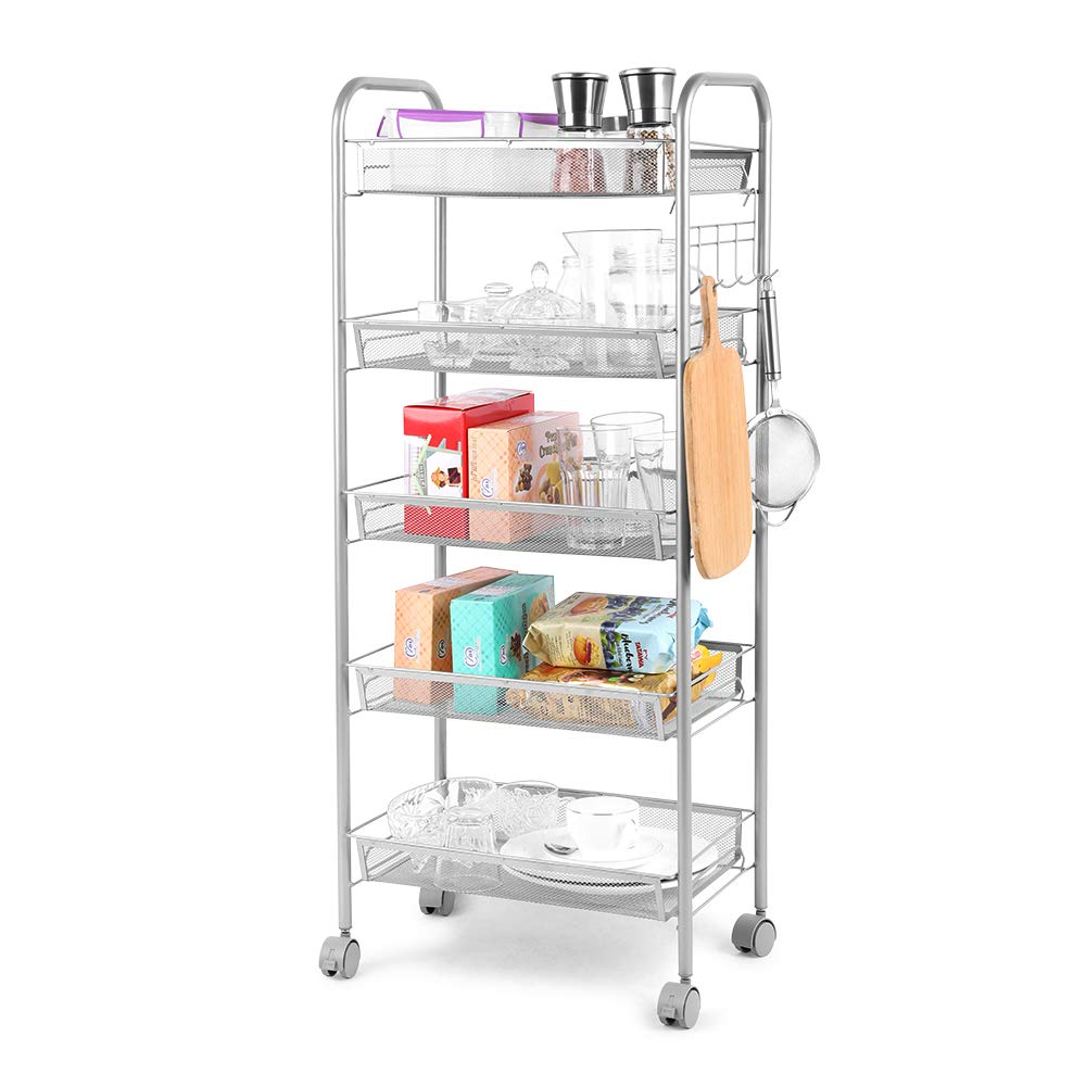 "Cozzine 5-Tier Wire Metal Mesh Shelves, Utility Rolling Cart Trolley with Lockable Wheels, Storage Organizer Easy Moving Cart Shelving Units for Kitchen Bathroom Office (17.32""x 10.24""x 40.16"")"