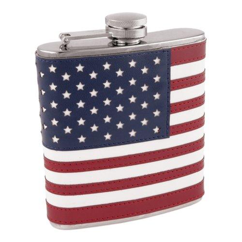 Steel Flask, Small Stainless Steel American Flag Flask 6 Oz For Liquor
