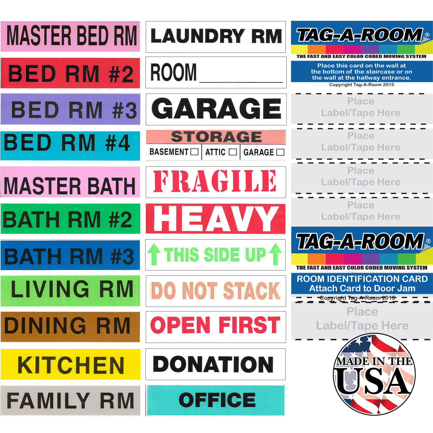 Tag-A-Room Color Coded Home Moving Box Labels with Door ...