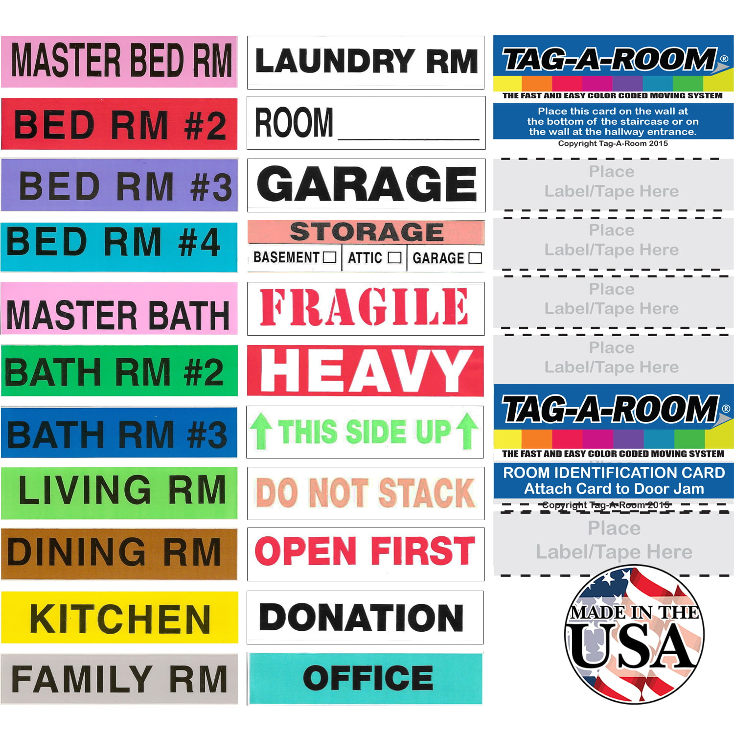 KingTac 960 Count Home Moving Color Coding Labels 16 Rolls Home Packing Boxes Moving Stickers 60 Labels//Roll, 14 Living Spaces Labels + 1 Roll Fragile Stickers + 1 Roll Blank Customization Label