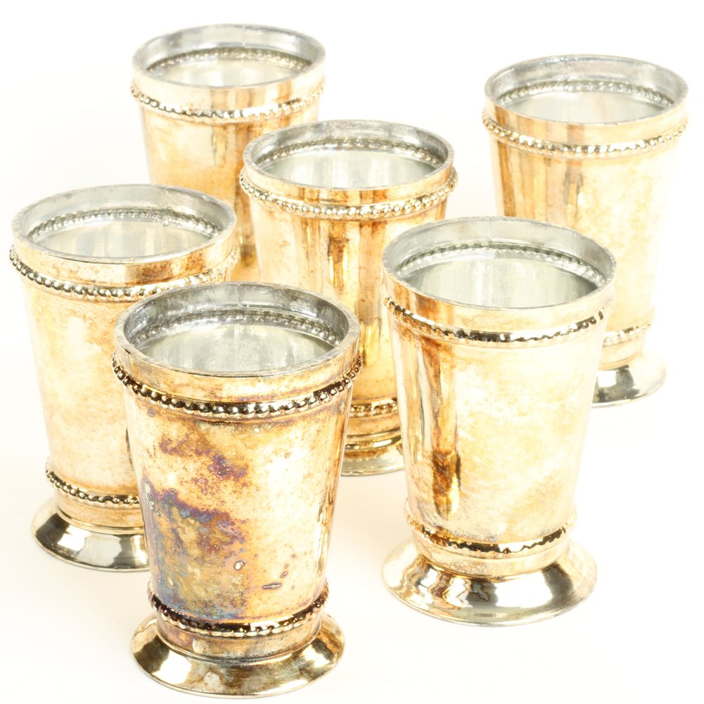Koyal Wholesale Antique Burnt Gold Glass Mint Julep Cup