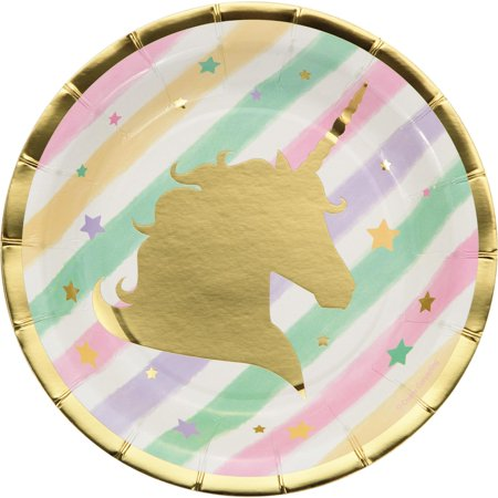 Pack of 96 Fresh Mint and Classic Pink Unicorn Sparkle Foil Stamped Luncheon Plates (Holiday Mint Tins)