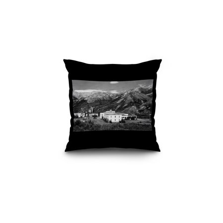 Mt  Mckinley  Alaska   View Of Hotel And National Park  16X16 Spun Polyester Pillow  Black Border