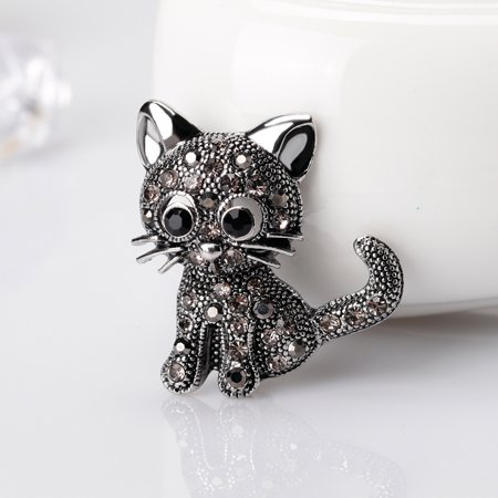 - Girl12Queen Vintage Women Girls Lovely Cat Kitten Rhinestone Collar Brooch Pin Party Jewelry
