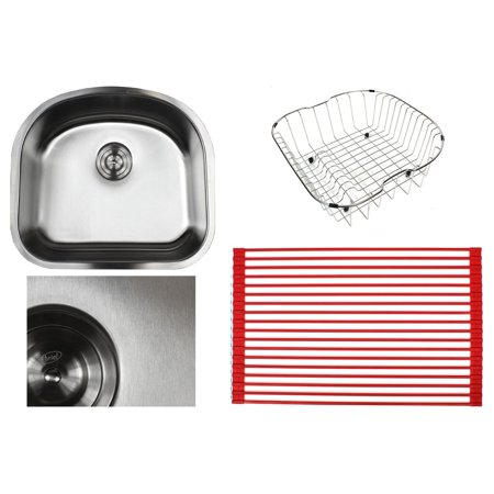 Contempo Living Inc Ariel Pearl Sharp Satin 23-inch Premium 16-gauge Stainless Steel Undermount D-bowl Bowl Kitchen Sink Accessories Kit - Ariel Premium