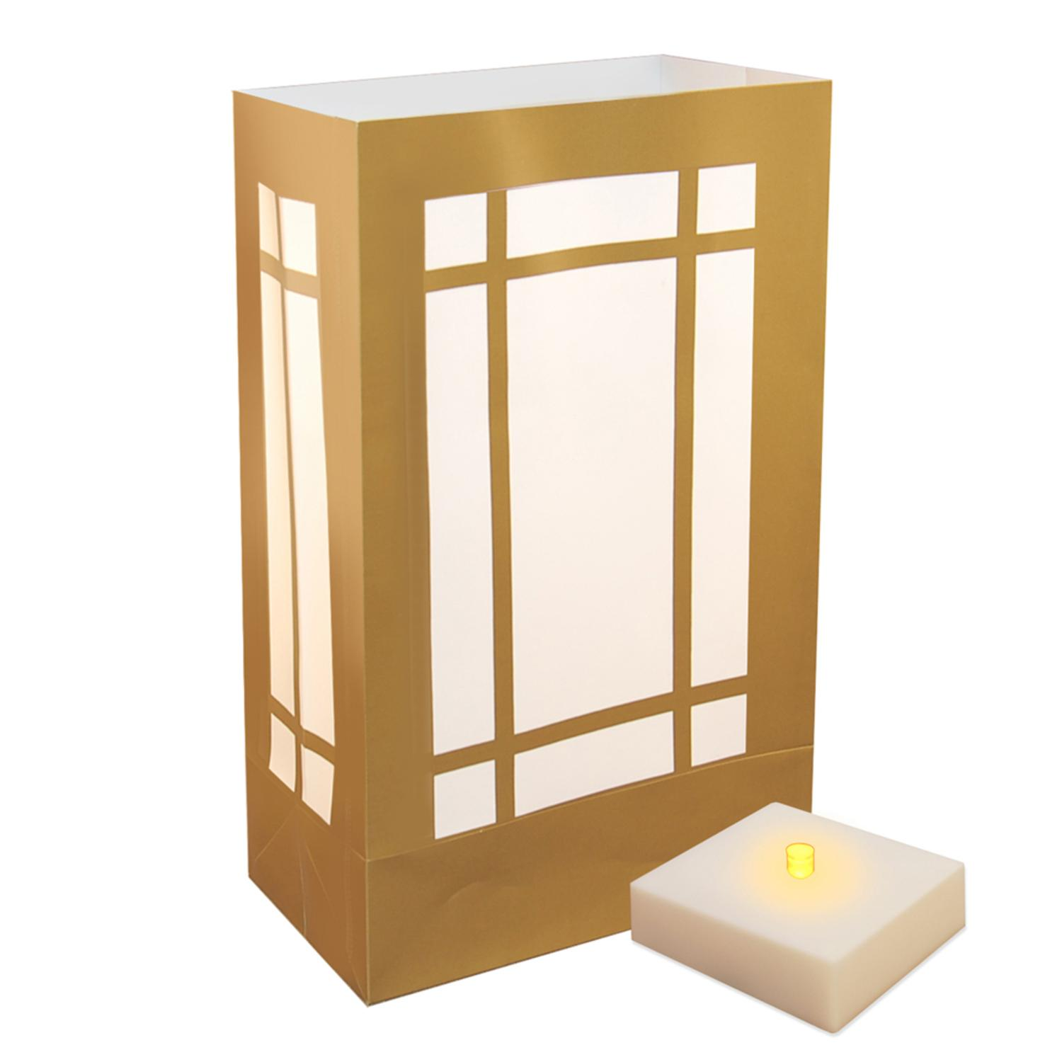 6 Weather Resistant Gold Lantern Luminaria Bags with Amber LED Flickering Lights