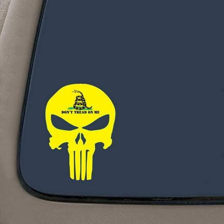 Gadsden Flag Sticker (Don't Tread On Me Punisher Skull Decal/Sticker | 5.5-Inches By 4-Inches | Gadsden Flag | Molon Labe | Vinyl Decal | Car Truck Van SUV Laptop Macbook Wall)