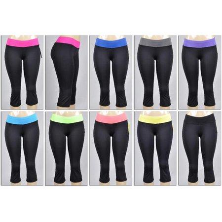 6b23c0fc7c DDI 1893746 Womens Boot Cut Athletic Capri Yoga Pants - Black With Colored  Waist Bands