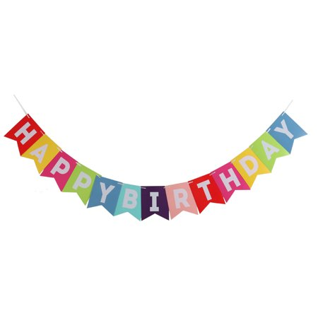 Paper HAPPY BIRTHDAY Letter Print Wall Hanger Rope Photo Prop Banner Multicolor (Leopard Print Banner)