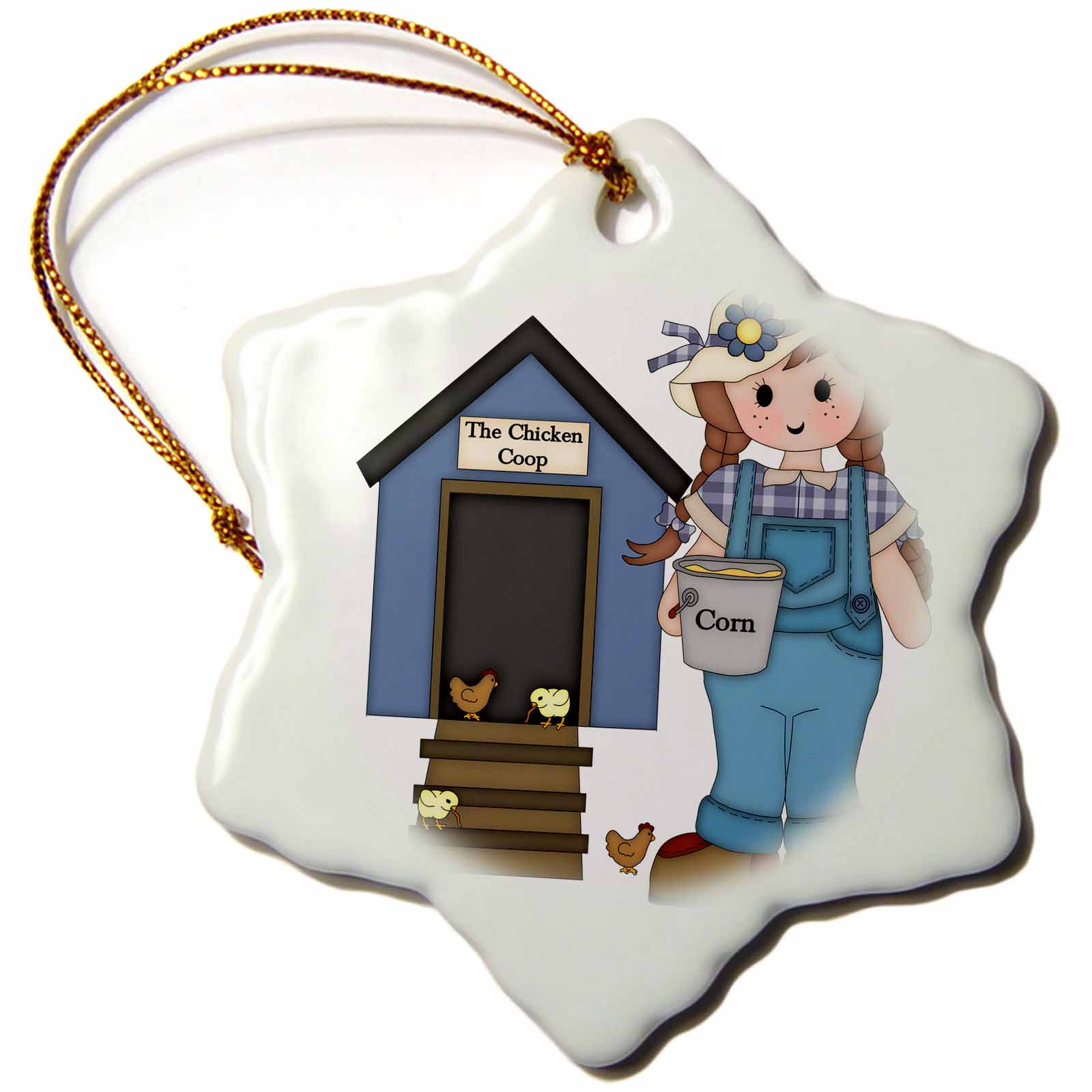 3dRose Cute Little Country Farm Girl Feeding Her Chickens Illustrations, Snowflake Ornament, Porcelain, 3-inch
