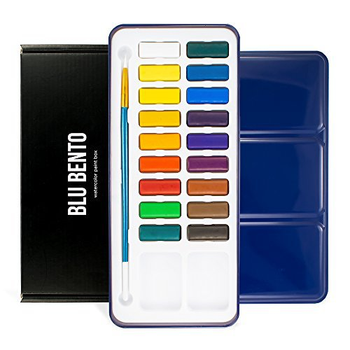Blu Bento Mizu-18 Watercolor Paint Box (With Tin Metal Case, Brush, Mixing Tray, 18 Paint Cakes, Vibrant Colors)