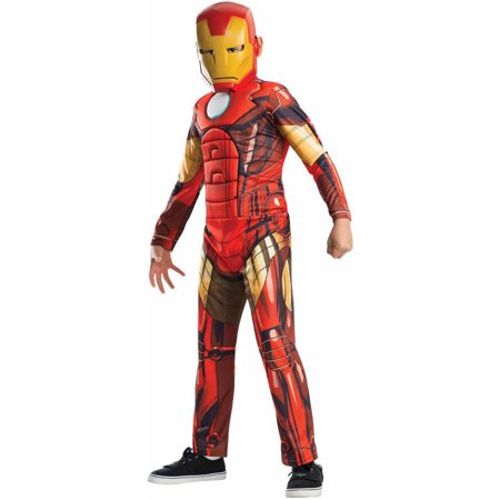 Avengers Assemble Deluxe Iron Man Boys' Child Halloween Costume - Male Halloween Makeup With Beard