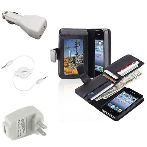 Insten Wallet Card Holder Leather Case+Car+Home Travel Charger+Cable For iPhone 4 4G 4S
