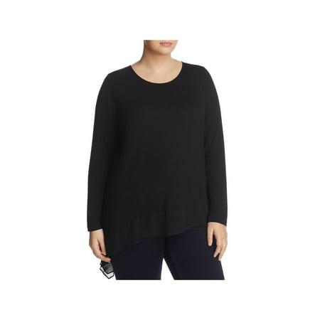 Foxcroft Womens Plus Asymmetrical Knit Blouse