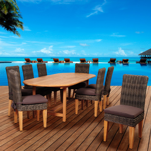 International Home Miami Amazonia Teak/Wicker Palau 9 Piece Dining Set with Cushions
