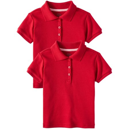 Toddler Girls School Uniform Short Sleeve Interlock Polo, 2-Pack Value Bundle (Back To School Clothes For Girls)