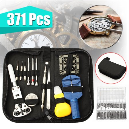 371Pcs/Set Watch Repair Tools Kit Opener Link Remover Watch Clock Holder Remover Opener Screwdriver Pin Spring Bar Kit with Carrying Case ()