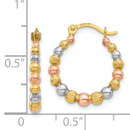 14k Yellow Gold White Rose Beaded Hoop Earrings Ear Hoops Set Fine Jewelry For Women Gifts For Her - image 2 of 6
