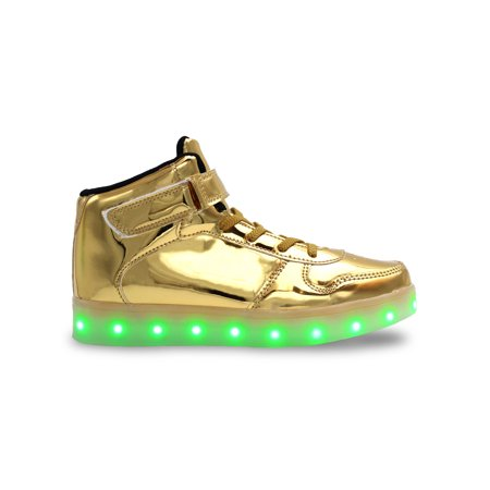 3a5e5ca8b150bd Galaxy Shoes - Galaxy LED Shoes Light Up USB Charging High Top Lace   Strap Kids  Sneakers (Gold Glossy) - Walmart.com