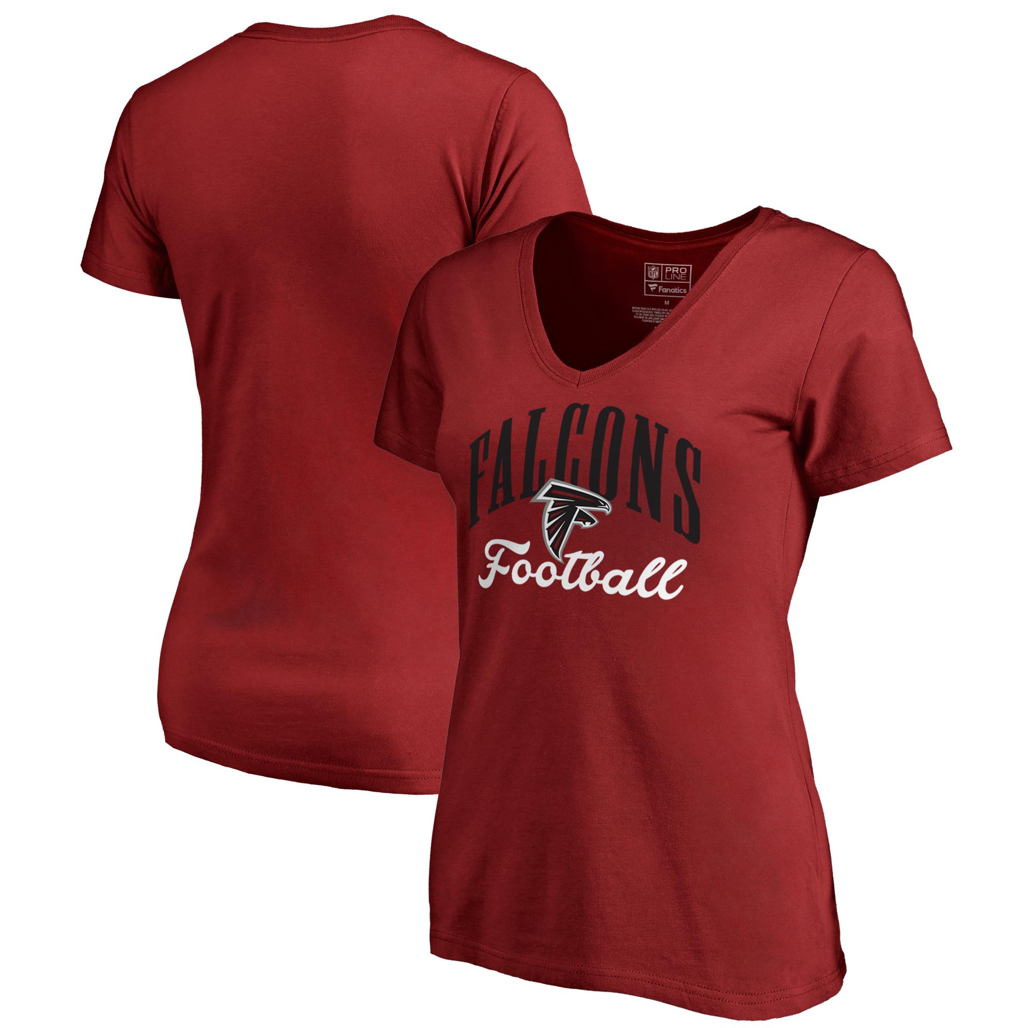 Atlanta Falcons NFL Pro Line by Fanatics Branded Women's Victory Script V-Neck T-Shirt -Red