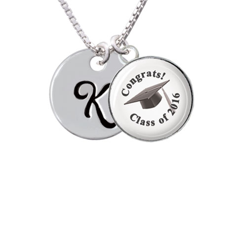 """Large Script Letter - K - 3/4'' Disc - Class of 2016 Glass Dome Necklace, 18""""+2"""""""