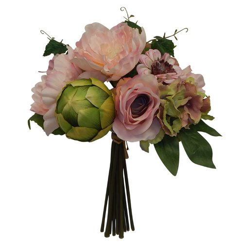 Charlton Home Italian Dahlia Rose and Artichoke Mixed Floral Arrangement