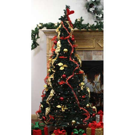 northlight 31105058 pre lit pop up decorated redgold artificial christmas tree with clear